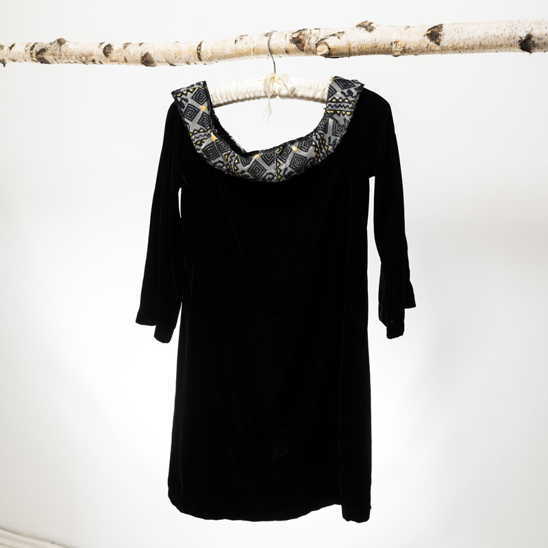 Black velvet mini dress up-cycled and restyled with traditional collar