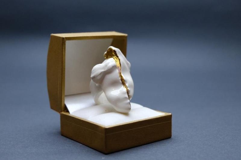 Inel Blanche XXI ceramica decorat cu aur 22k Ceramica de Soare