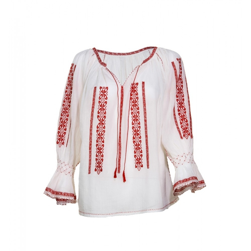 Blouse Roumaine Traditional Handmade Embroidery Ioana