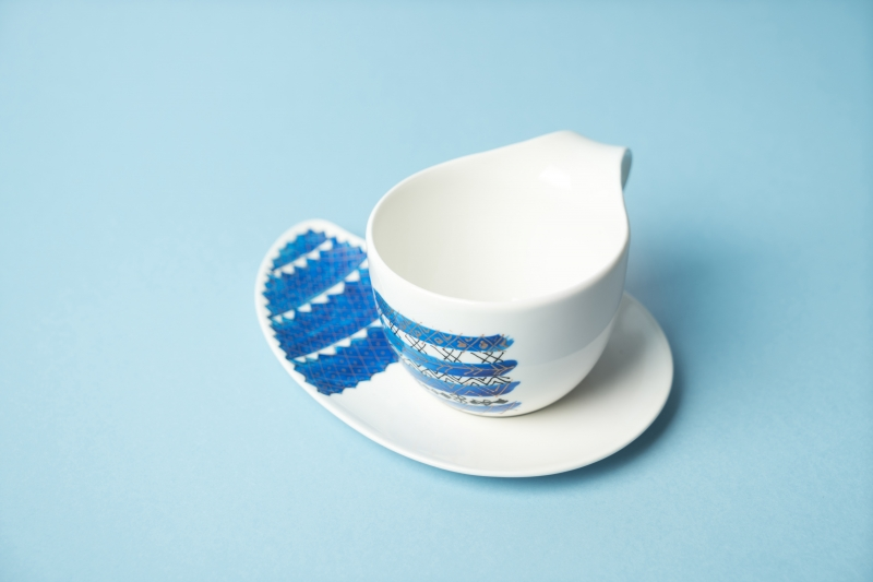 Blue handpainted coffee and plate set
