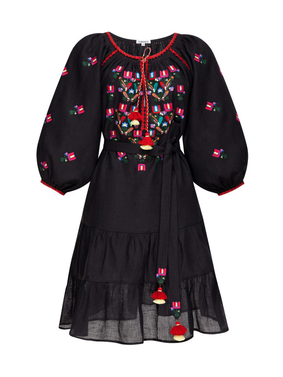 Bohemian black mini dress Omelia