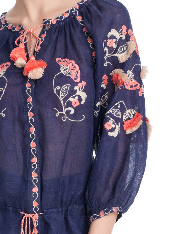 Boho beach blouse in navy linen with beige and pink embroidery Paradise Bird Foberini
