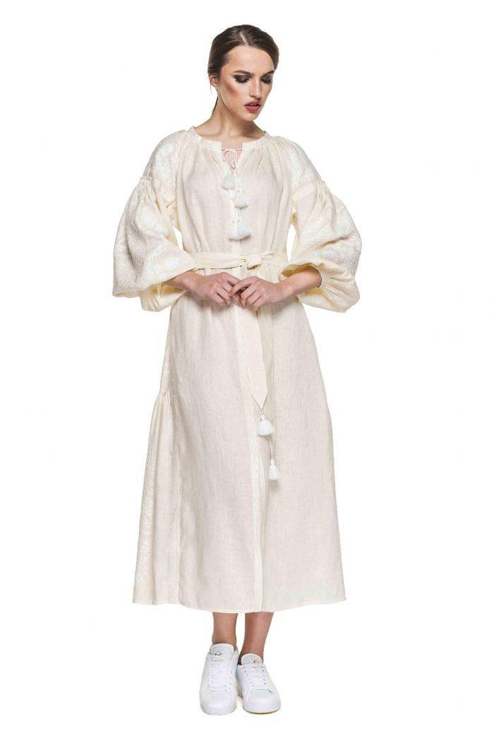 Boho Chic Maxi Embroidered Dress in Ecru BAZENA