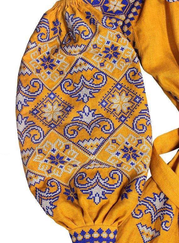 Boho style ocher color ukrainian dress with ancient geometric ornament - bohemian folk embroidered dress vyshyvanka