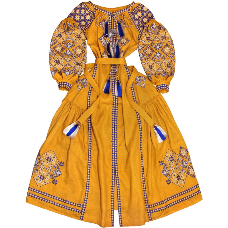 Boho style ocher color ukrainian dress with ancient geometric ornament - bohemian folk embroidered dress vyshyvanka