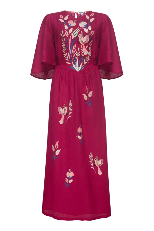 Boho Ukrainian linen dress in burgundy with ethnic floral motifs Foberini