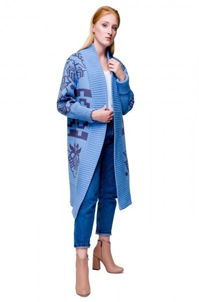 Cardigan Tricotaj Maxi Beskida Albastru deschis 2Kolyvory