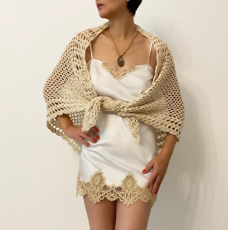 Set sal tricotat manual din lana si furou de matase amestec matase si satin No 1