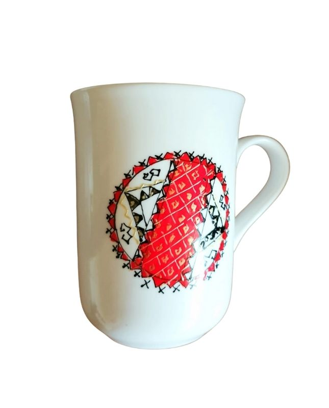Christimas gift fine porcelain cup hand painted with traditional Romanian pattern Porphyras
