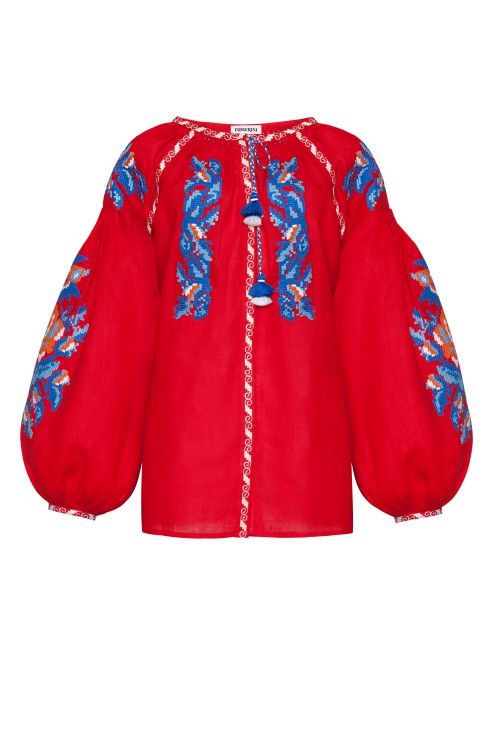 Claire red embroidered linen blouse Foberini