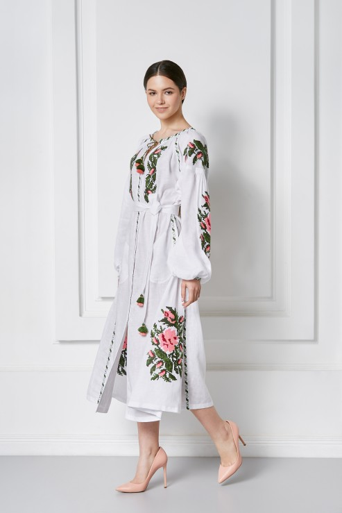 Claire Tunic Dress with Ukrainian Floral Embroidery