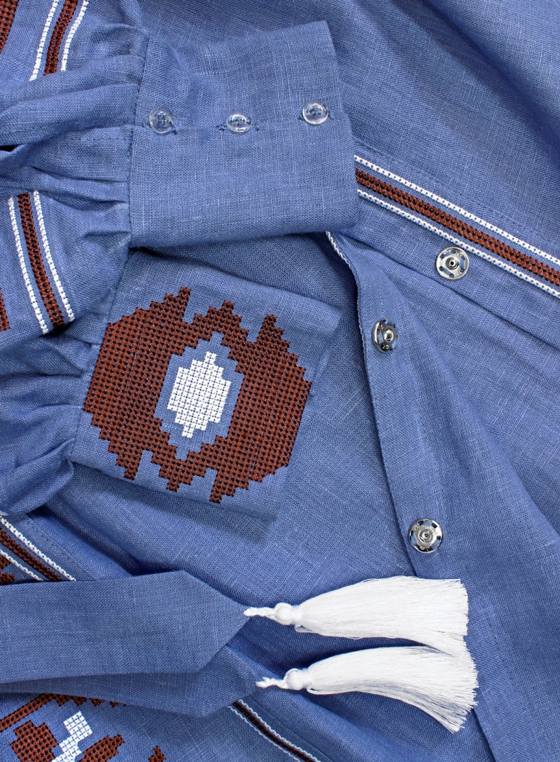Coachella Dress Blue ethnic linen embroidered long dress vyshyvanka in bohemian style.