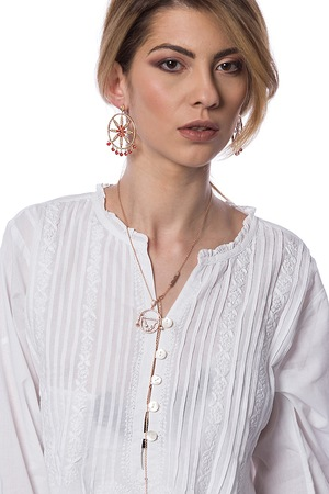 Cotton white embroidered shirt Claudia Florentina