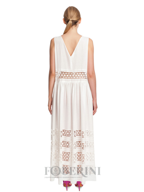 Daisy White cotton sarafan with Richelieu embroidery