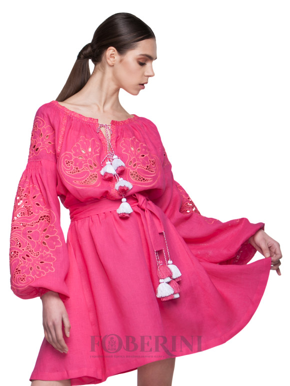 "Dress-embroidery ""Fuchsia"""