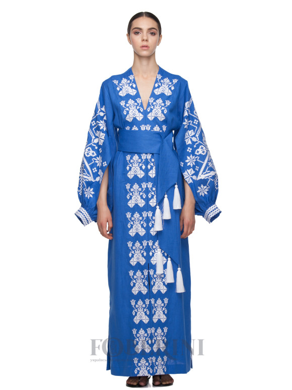 "Kimono embroidered dress ""Morning fog"""
