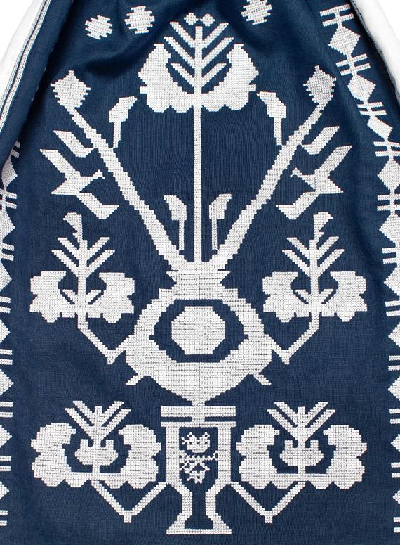 Embroidered dark blue and white Ukrainian linen dress with wedges bohemian style folk dress - long boho dress ukrainian style