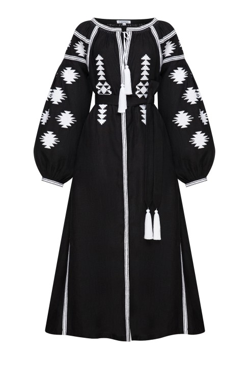 """Embroidered dress """"Black geometry"""""""
