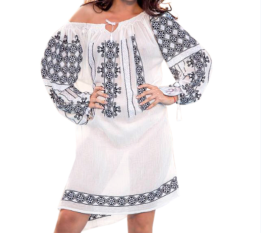 Embroidered handmade linen cloth tunic and traditional Romanian motifs