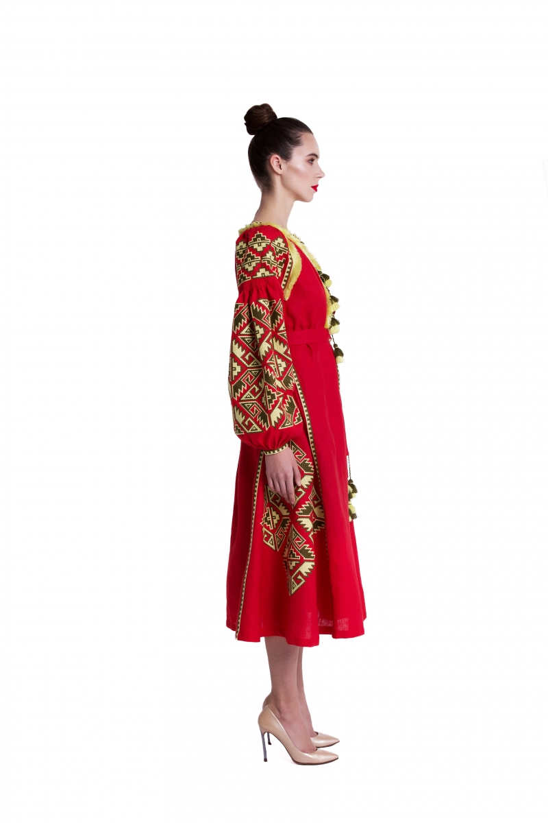 Embroidered red linen dress Christina