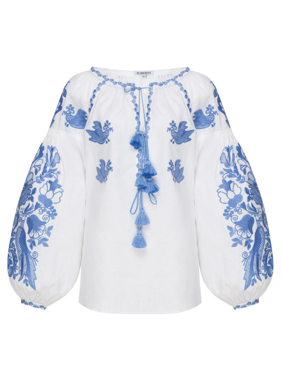 Embroidered shirt Ros with seashells natural buttons Foberini