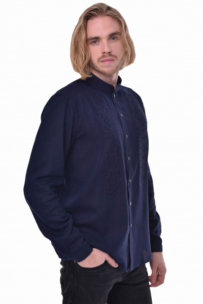 Ethnic style man shirt Power in navy color 2Kolyori