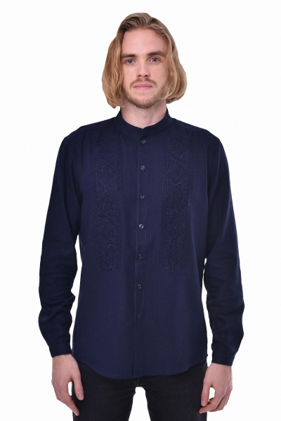 Ethnic style man shirt Power in navy color 2Kolyori