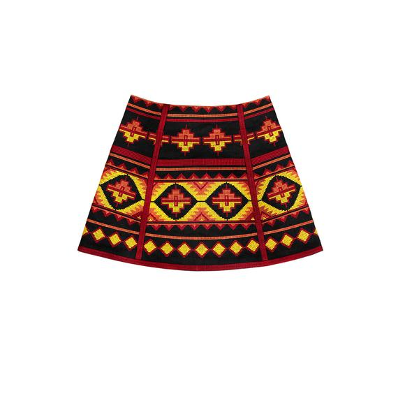 Ethnic style embroidered short linen skirt - mexican bohemian style - boho style geometric embroidery-Only one left