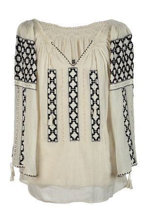 Exclusive Romanian Blouse Handmade by Authentic Artisans with Elegant Black Embroidery