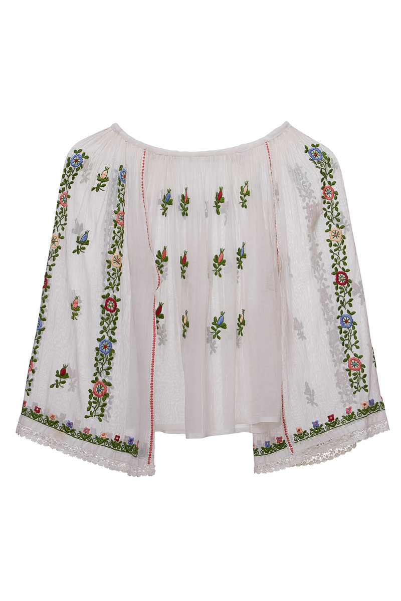 Vintage Field Flowers Romanian Blouse for 8-12 years Old Girl
