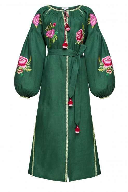 """FLORA"" GREEN DRESS FOBERINI"