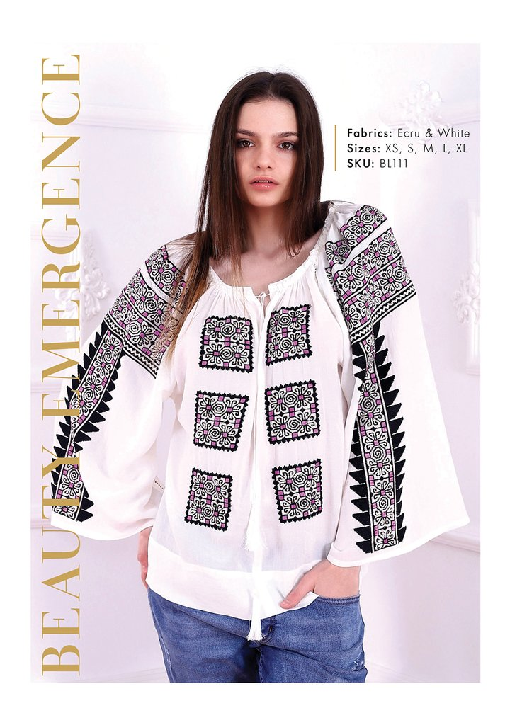 Bluza dama tip ie moderna stillizata model cu broderie traditionala Beauty Emergence FLORII