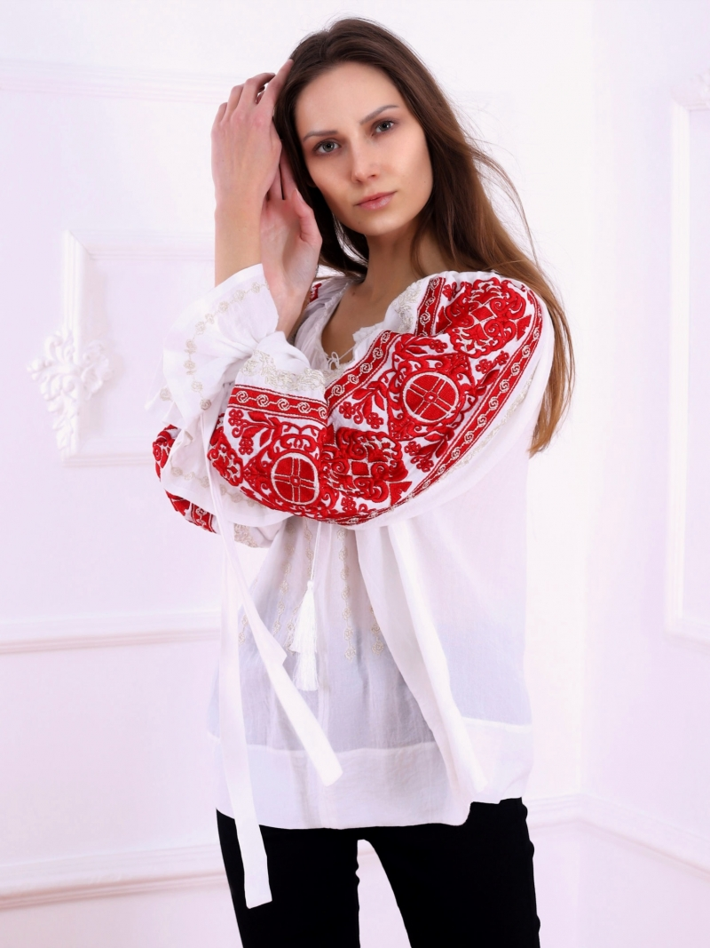 FLORII Infinity Embroidered Folk Blouse