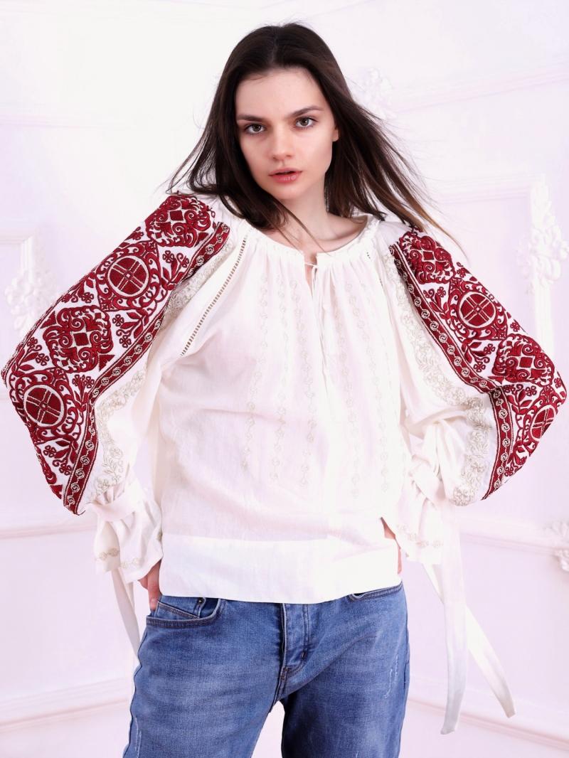 Bluza dama tip ie stilizata cu broderie de inspiratie romaneasca Infinity FLORII