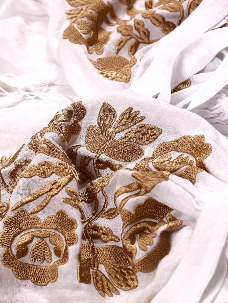 FLORII Tree Of Life Folk Embroidered Blouse CAMEL Floral Embroidery On White Fabric