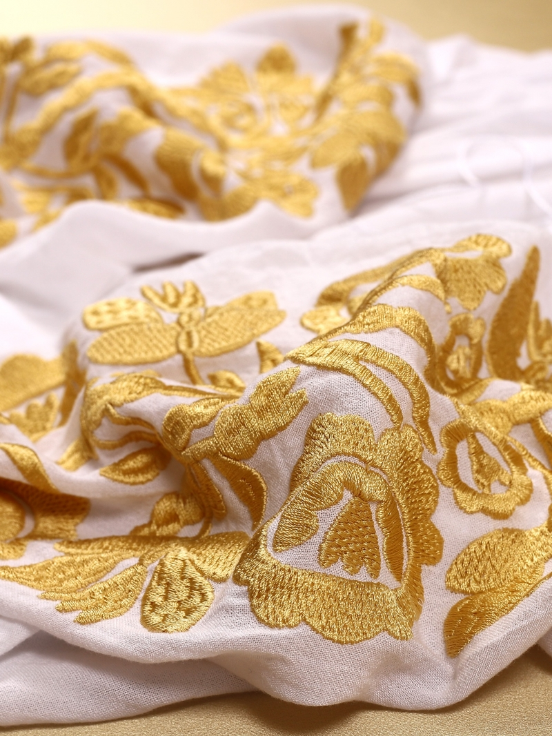 Florii Tree Of Life Folk Embroidered Blouse Mustard Yellow Floral Embroidery On White Fabric