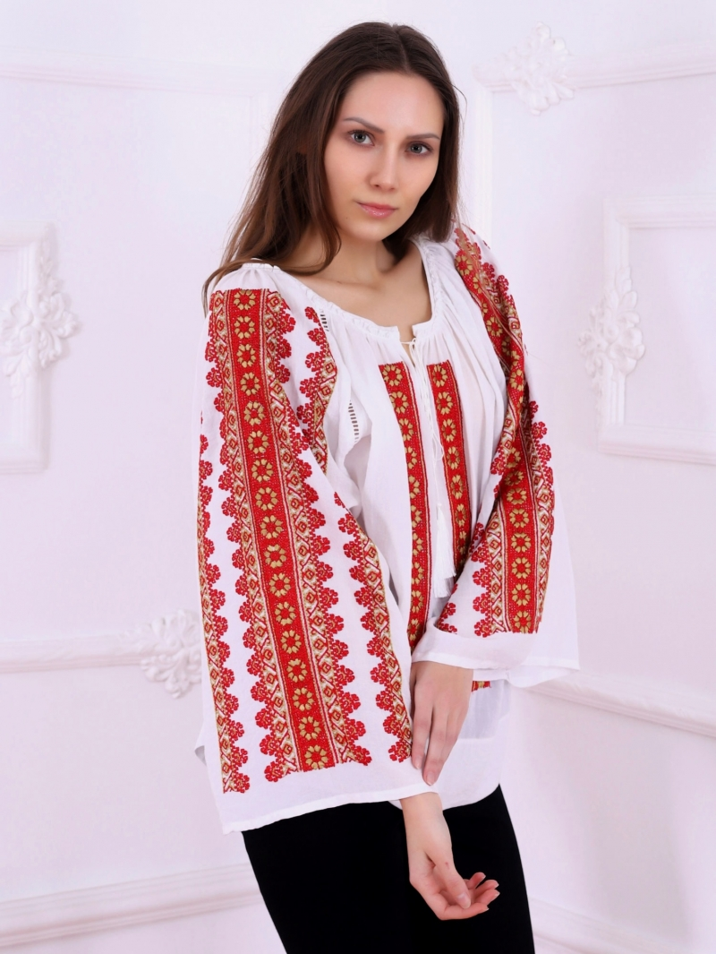 Flower Path Folk Peasant Blouse Style With Floral Embroidery Milano Red