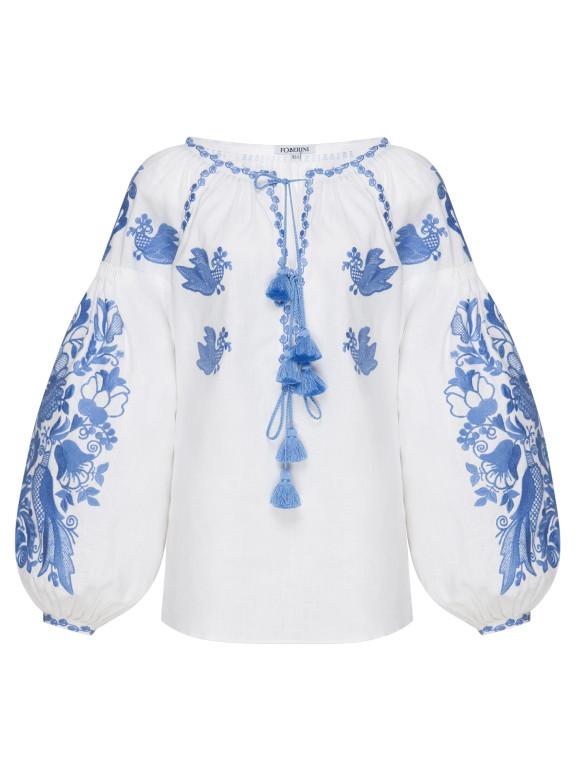 Foberini Blue Sky Embroidery Vyshyvanka Blouse