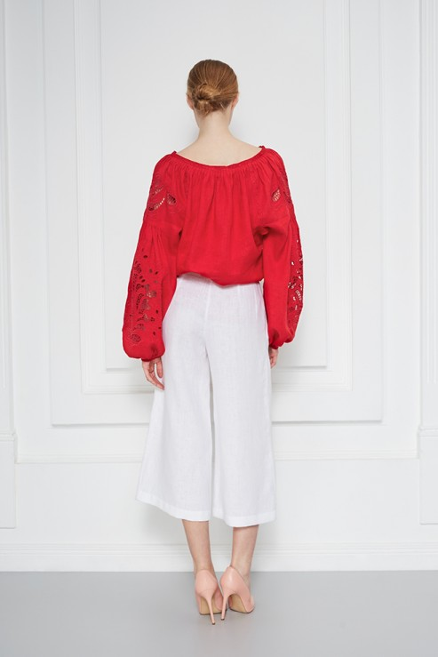 Foberini Total Red Embroidered Blouse