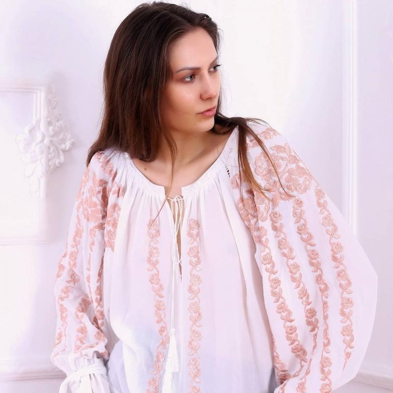 Folk embroidered blouse in ecru Cherry Blossom FLORII