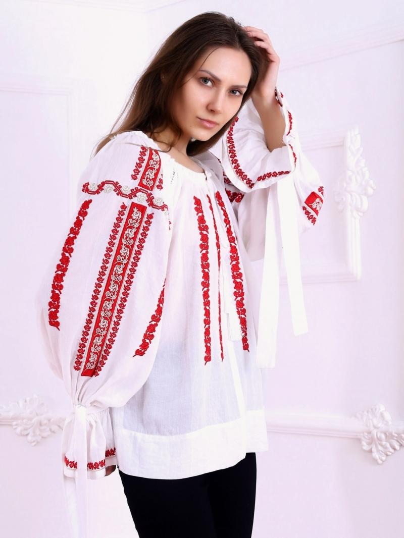 Bluza dama tip ie moderna stilizata model SIBIU broderie rosu cu auriu FLORII