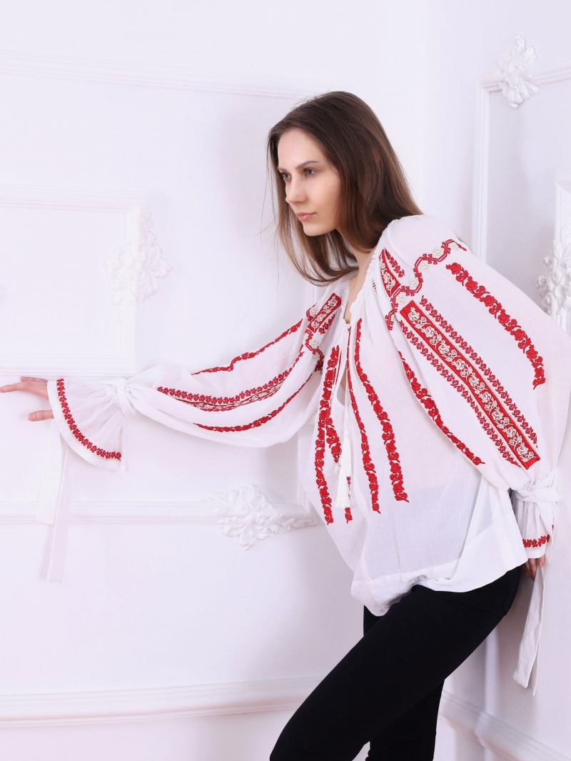 Folk Embroidered blouse SIBIU Traditional style red and golden  Embroidery FLORII