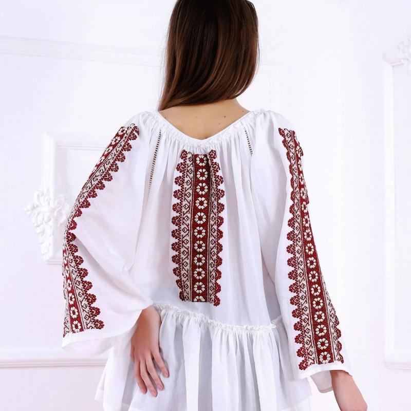 Folk embroidered blouse Waterfall pattern FLORII