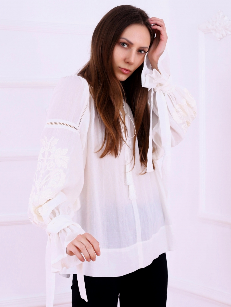 Folk embroidered top The Tree of Life on white fabric and white floral embroidery Florii