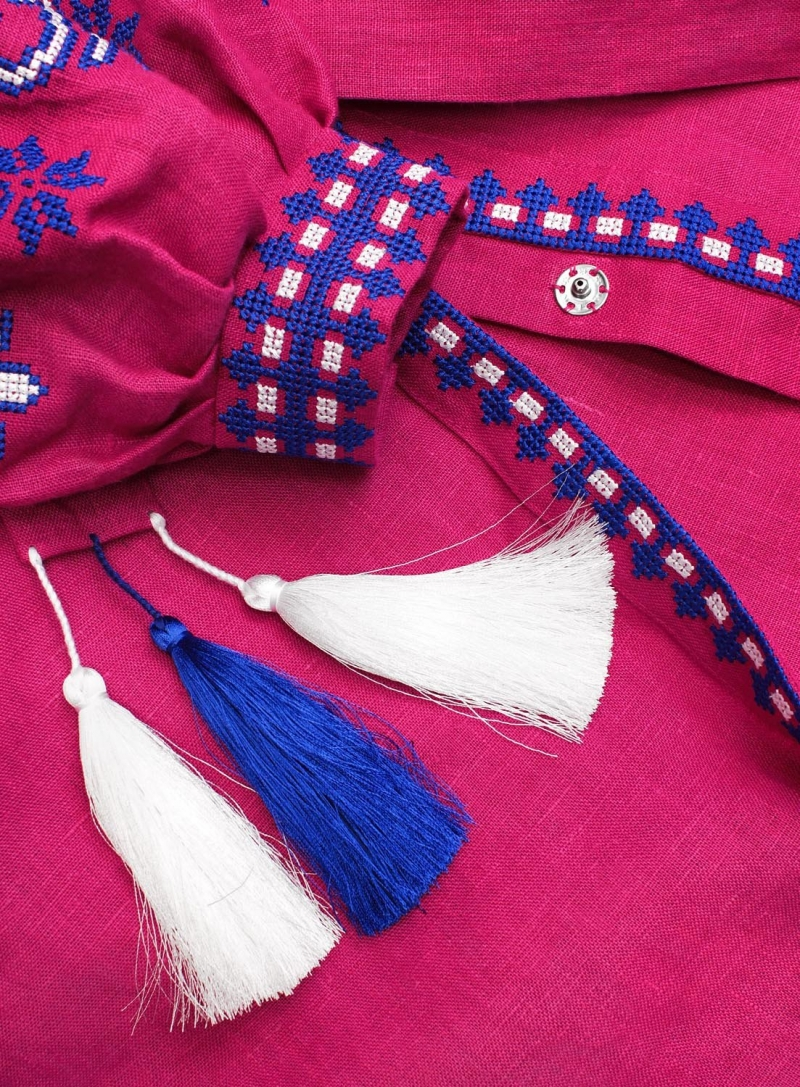 Fuchsia long linen dress with ancient geometric pattern - 100% natural linen - ethnic folk Ukrainian dress vyshyvanka