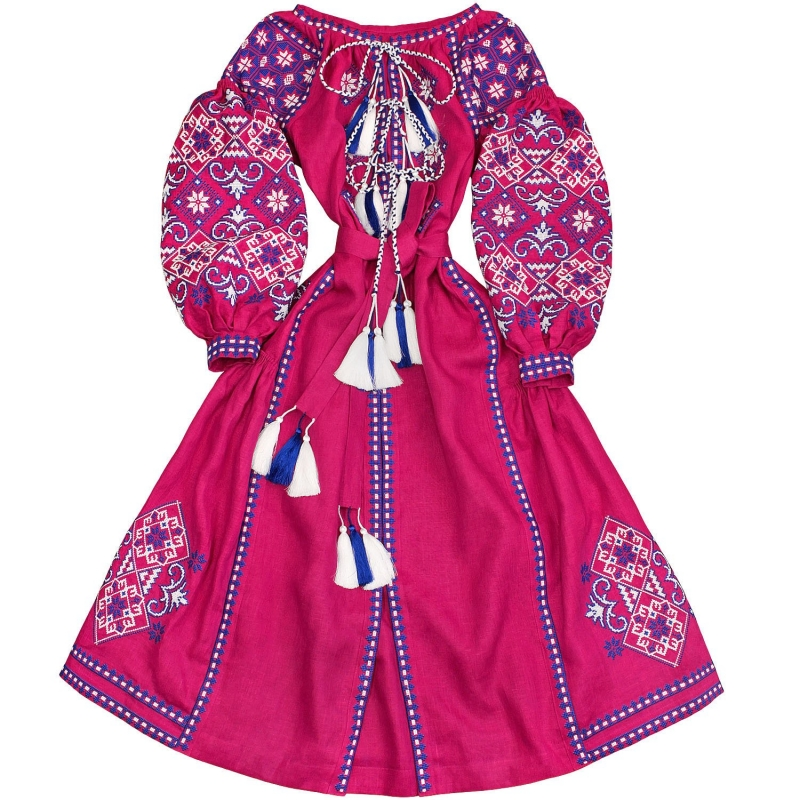 Fuchsia long linen dress with ancient geometric pattern - 100% natural linen - ethnic folk Ukrainian dress vyshyvanka