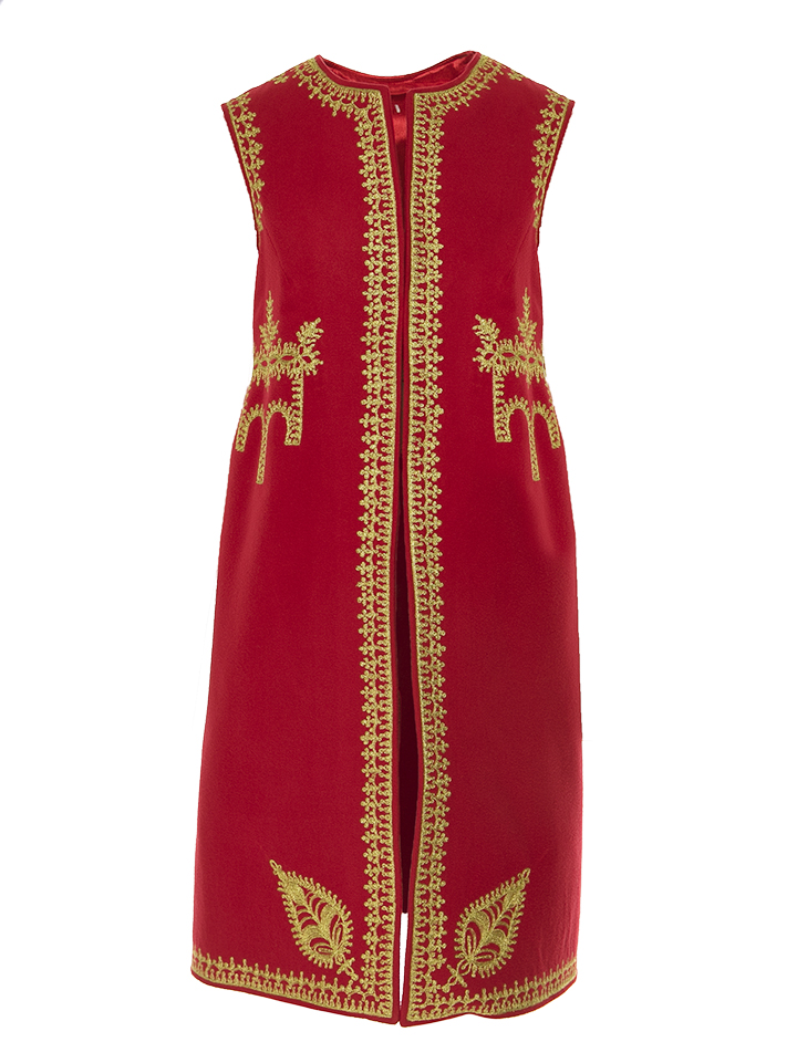 Genuine Traditional Handmade Sleeveless Long Vest Wool And Cashmere Crafted Romanian Vest Red Model05