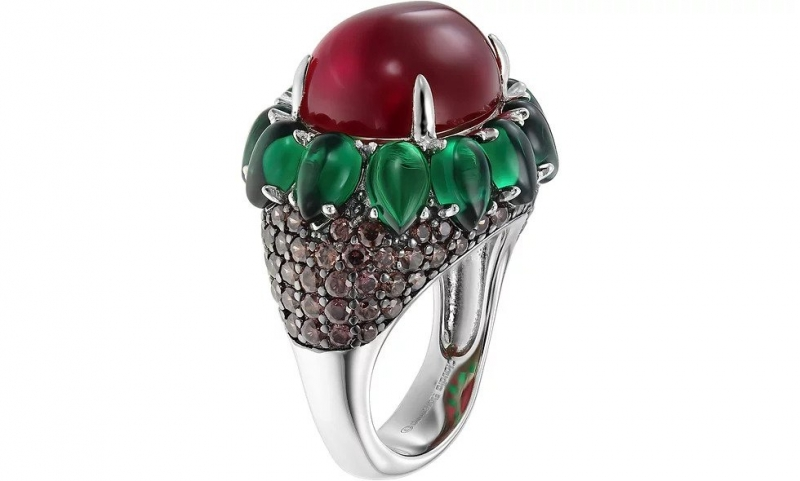 Green Flower 925 Silver Ring Claudia Florentina