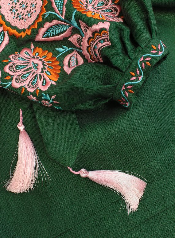 Green long linen dress with floral embroidery - ethnic folk maxi ukrainian dress vyshyvanka - 100% natural linen