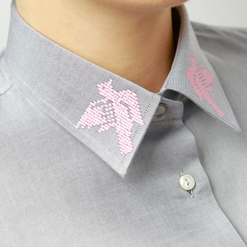Grey cotton shirt with traditional embroidered Dove motifs Alisia Enco